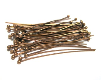 100pcs Antique Copper Ball Head Pins 35mm 24ga (No.1447)