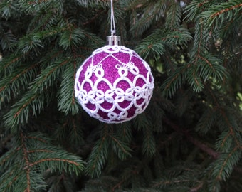 Purple Sparkling Bauble/ Lace Covered Bauble/ Lace Christmas Ornament/ Tatted Christmas Ornament/ Purple Christmas Ball