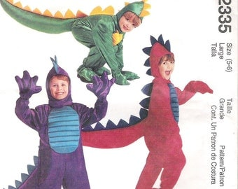 McCall's Dragon Costume 2335, Children's Size Large (5-6), Jumpsuit with tail and hood. Mittens included, Uncut Pattern