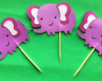 Animal - Elephant Cupcake Toppers - Set of 12