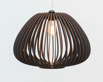 Already ASSEMBLED wooden lamp - coloured wooden light - wood light - hanging lamp - hanging light - black wooden lamp 'Tokyo S'