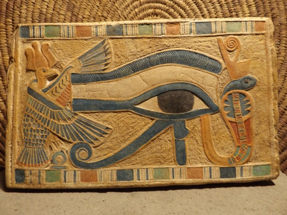 Egyptian eye of horus painting wall relief