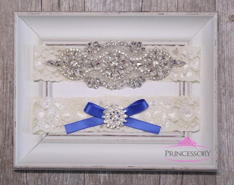 Wedding Garter, something blue wedding garter, Plus Size Garter, Lace Garter, Wedding Garter Set, Rhinestone Garter, Garter Wedding, WG25