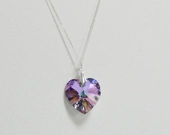 Handmade Swarovski Crystal Heart Pendant,Swarovski Heart,Valentine gift,Valentine Heart - Crystal Heart Pendant