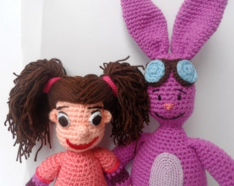 """Purple Bunny and His Friend Crochet Dolls - 19"""" and 11"""""""