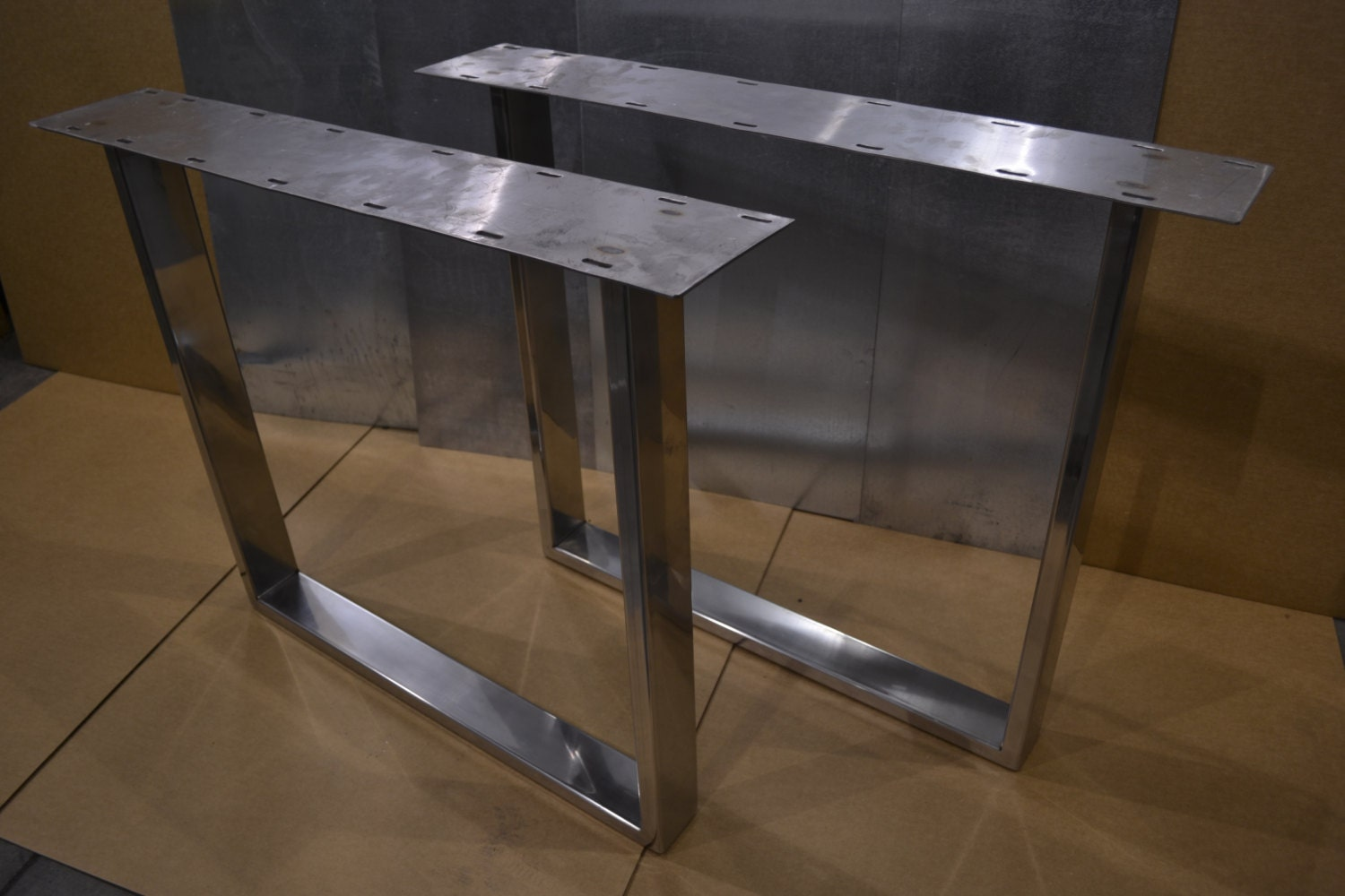Polished Stainless Metal Tapered Table Legs Any Size