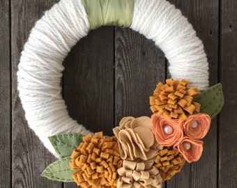 Fall Wreath w/ Felt Flowers