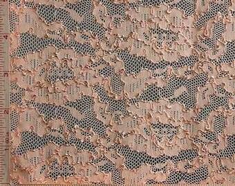 "Peach Orange Flower Embroidery Lace Fabric 4 Way Stretch Nylon 68-70"""