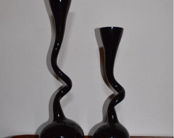 Two Vtg. MAKORA Art Glass Vases From Krosno Poland