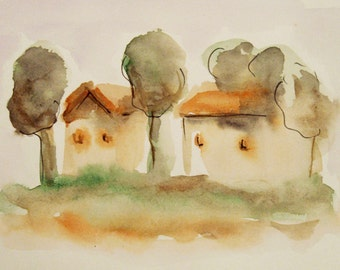 Houses Painting, Two Small Houses, Watercolor painting, Small painting, Modern Art, House Art, Gift Idea