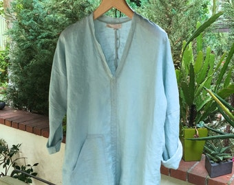 Linen Kaftan Top/Tunic/ kaftan in Aqua