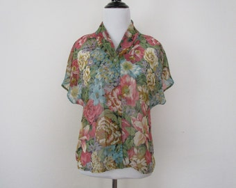 90s Sheer Floral Romantic Blouse Button Down Short Sleeve French Connection Vintage Top