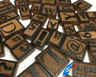 50 Letterpress Wood Block Letters, Numbers, Symbols