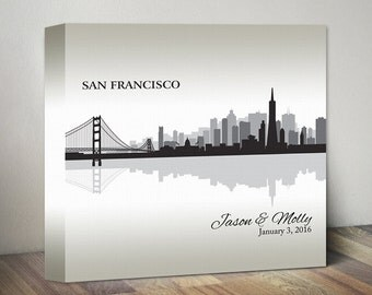 Wedding Gifts Personalized CANVAS ART San Francisco City Skyline Print Any City Personalized Wedding Gift Engagement Gift City Skyline Gift