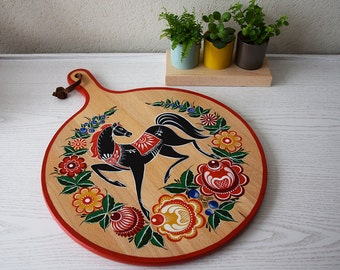 Hand-painted board, chopping board, large wooden board, Gorodets painting