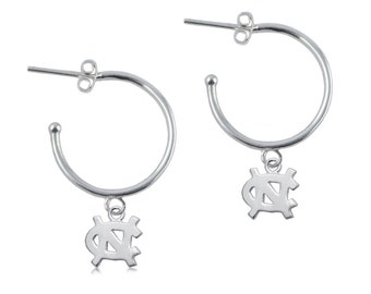 North Carolina Hoop Earrings, UNC Jewelry, Tar Heels Jewelry, UNC-6107