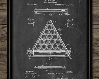 Pool Ball Frame Patent Print - 1891 Snooker Ball Frame Design - Billiards Sport - Pool Player - Single Print #1044 - INSTANT DOWNLOAD
