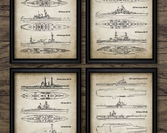 US Navy Poster Set Of 4 Prints - Warships - Nimitz Aircraft Carrier - Arizona - Oklahoma - Set Of Four Prints #1216 - INSTANT DOWNLOAD