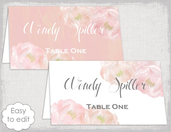 Place Card Template Peony Dream Pink Name Cards