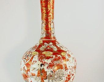 Kutani Vase in vintage, Kutani Vase,Japanese Kutani Vase, Antique Kutani Vase,Kutani porcelain Vase,Antique Kutani Porcelain Vase