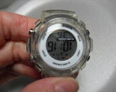 Retro Clear Digital Watch, ladies Alarm Chrono water resistant watch Clear plastic band Gift for her,  Gingerslittlegems