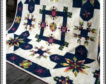 "On the Horizon Batik Quilt Kit - Incl pattern, batik fabric for top/binding & rulers; 54"" or 108"" Sq; Whirligig Designs / Timeless Treasures"