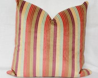 "Jewel tone velvet stripe pillow. 18"" x 18"".20"" x 20"". 22"" x 22"". 24"" x 24"". 26"" x 26"". lumbar sizes."