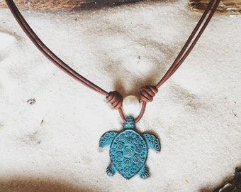 Sea Turtle and Pearls on Leather Necklace #13