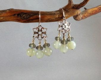 Serpentine Jade Chandelier Earrings