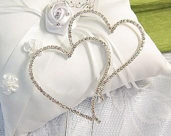 "Large Double Heart Rhinestone Wedding Cake Topper 3-1/2"" X 3-1/2"""