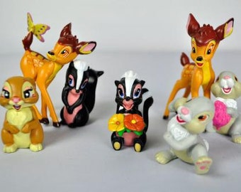 "Bambi Set Of 7 3"" Birthday Cake Topper Figurines Toy Set"