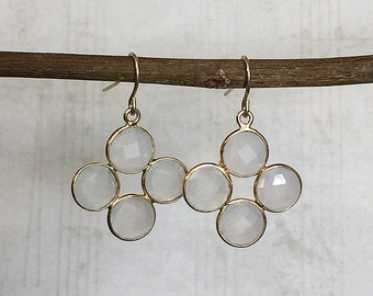 White Chandelier Earrings, White Drop Earrings, White Dangle Earrings, White Earrings, Gold Drop Earrings, White Glass Earrings