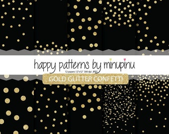 Confetti Digital Paper, Gold Glitter Confetti on black background, Black and Gold Glitter, Glam Party backgrounds for scrapbooking