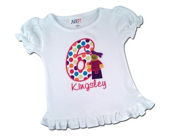 Girl Building Block Birthday Shirt with Glitter Girl and Name