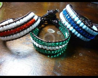 bracelets with crystals and skin