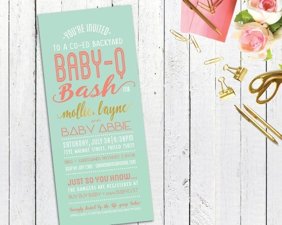 co ed baby que baby shower invitation custom bbq couples shower