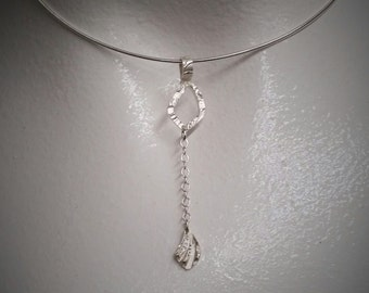 Delicate silver drop pendant