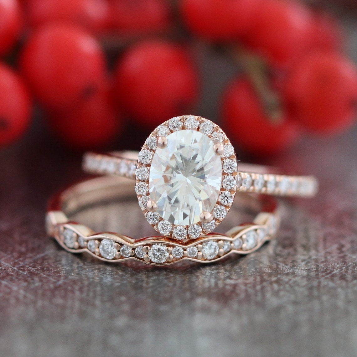 halo diamond moissanite engagement ring 14k rose gold and. Black Bedroom Furniture Sets. Home Design Ideas