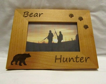 Personalized Wooden Picture Frame- Bear Hunter