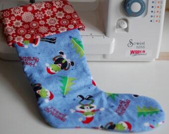 Handmade Christmas Stocking - Hoppy Christmas Frogs