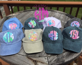 Lily Pulitzer Monogram Baseball Hat Frayed Edge Applique
