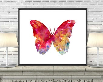 Watercolor art print butterfly decor, butterfly art, insect art, nature art, butterfly illustration art, home wall art - 65A