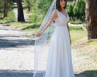 ELIZA | Mantilla Veil, Drop veil, Tulle veil, Veil, Traditional Veil  - TV0012