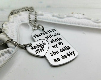 Personalized Hand Stamped daddy daughter necklace set, daddys girl necklace, father's day