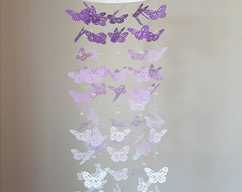 Purple Ombre Butterfly Mobile with Crystal Beads - Butterfly Ornament Decoration - Nursery Baby Room - purple butterflies