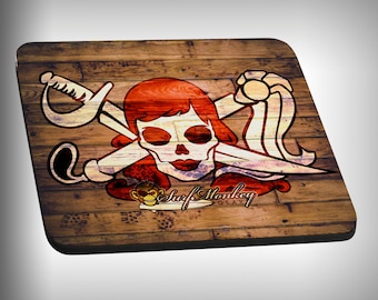Red Betty Skull Mouse Pad Custom Graphic Novelty Mousepad Great Gift Customized Personalized