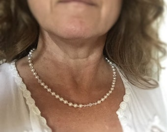 Handmade White Swarovski Pearl Crystal Necklace
