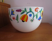 Reserved Arabia Finland Finel Enamelware Geometric Flowers Bowl - Excellent
