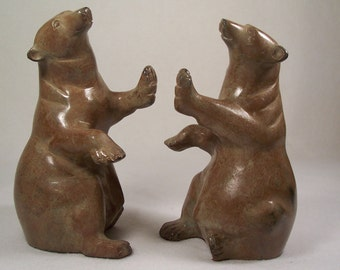 Bear Bookends Figurines Metal       S881