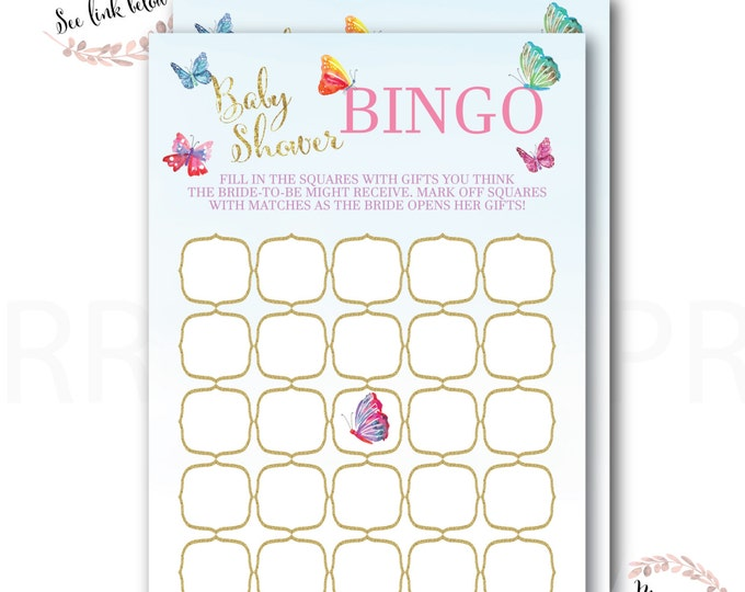 Baby Shower Bingo //Bingo Game // Butterflies // Butterfly // Pink // Mint // Gold Glitter // Instant Download // CORDOBA COLLECTION